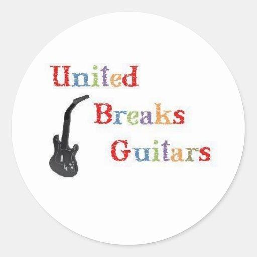 Guitarras unidas de las roturas pegatina redonda