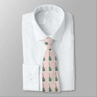 Guitarras verdes en rosa corbatas personalizadas