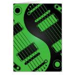 Guitarras verdes y negras de Yin Yang Tarjetón