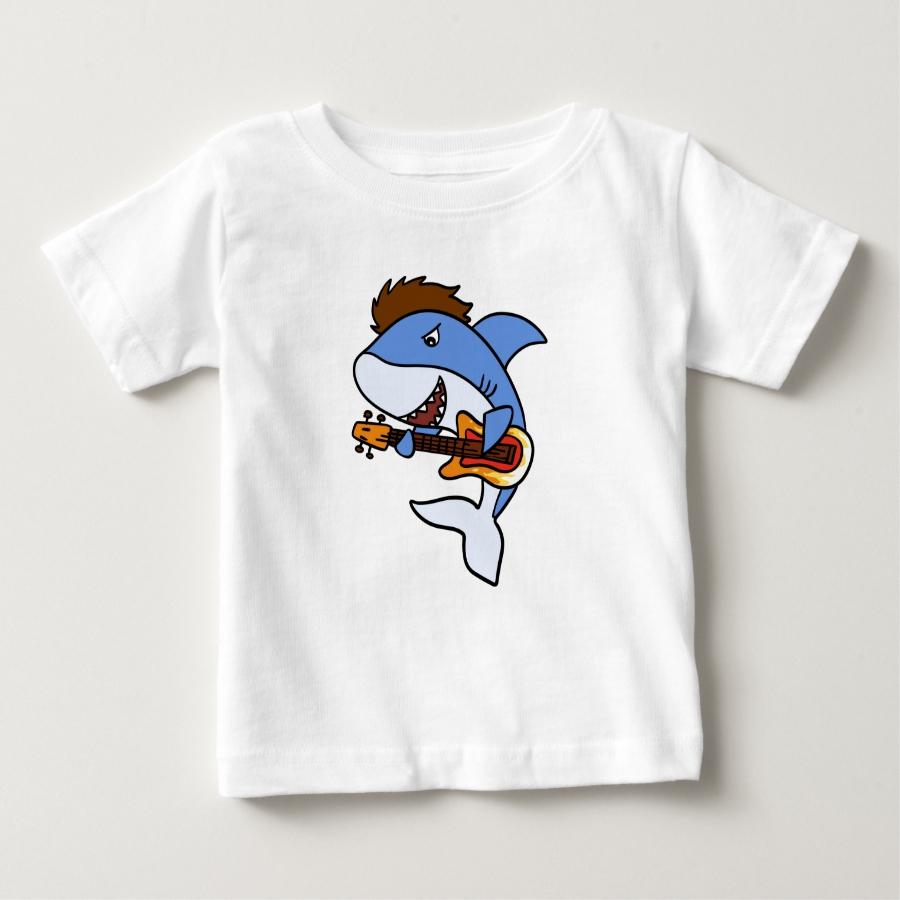 Guitarrist shark cartoon - Funny shark Baby T-Shirt - Soft And Comfortable Baby Fashion Shirt Designs