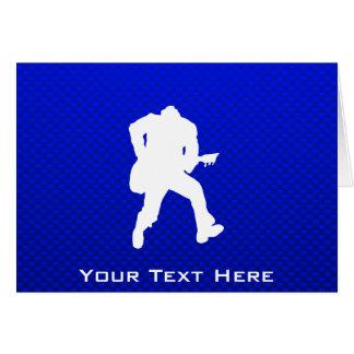Guitarrista azul tarjeta de felicitación