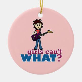 Guitarrista bajo del chica adorno redondo de cerámica
