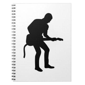 Guitarrista de la estrella del rock libros de apuntes