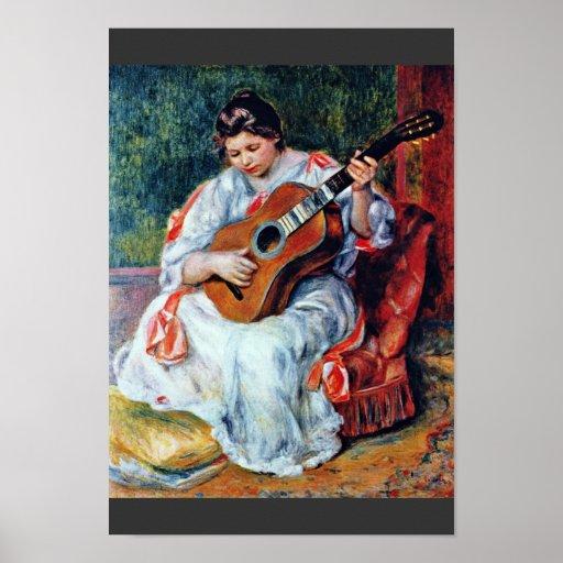 Guitarrista de Pierre-Auguste Renoir Póster
