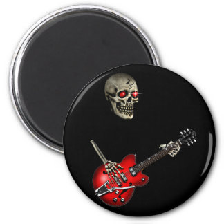 Guitarrista del cráneo imán redondo 5 cm