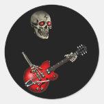 Guitarrista del cráneo pegatina redonda