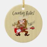 Guitarrista divertido de la música country ornamentos de reyes