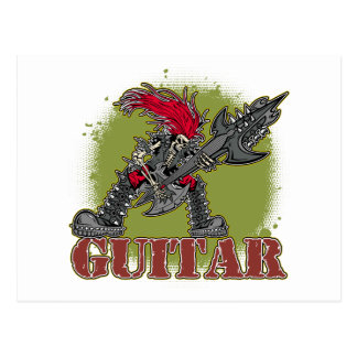 Guitarrista esquelético de la roca tarjetas postales