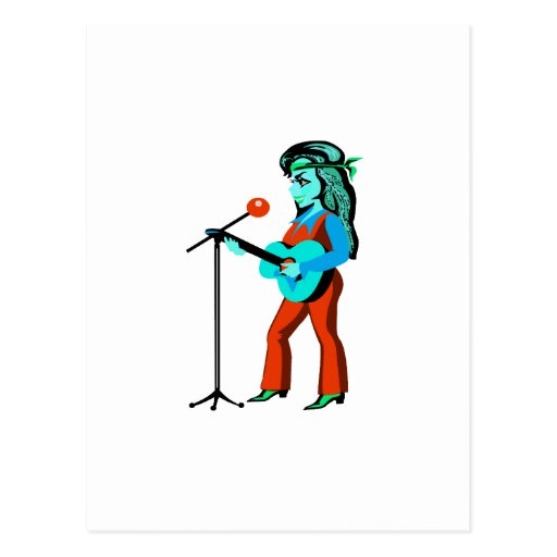 guitarrista femenino con el trullo del naranja del postal