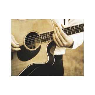 Guitarrista Impresiones En Lienzo Estiradas