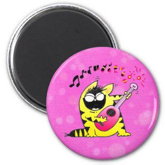 Guitarrista loco del gato imán redondo 5 cm