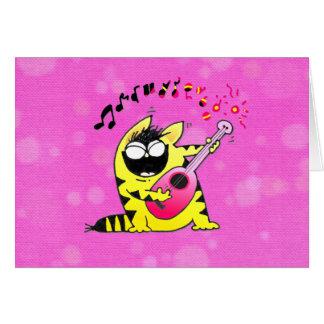 Guitarrista loco del gato tarjeta de felicitación