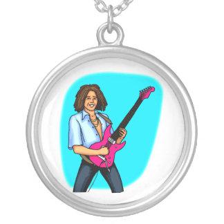 Guitarrista, oscuridad pelada, el jugar eléctrico colgante redondo