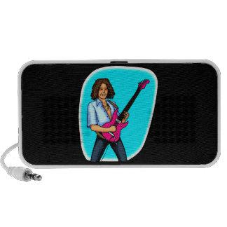 Guitarrista, oscuridad pelada, el jugar eléctrico iPod altavoces