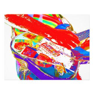 "guitarrista psychadelic colorido folleto 8.5"" x 11"""