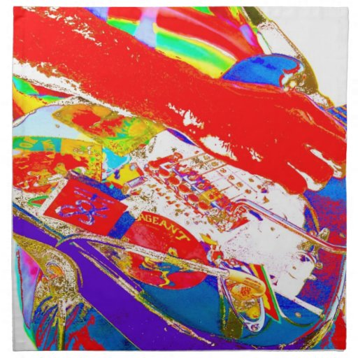 guitarrista psychadelic colorido servilletas imprimidas