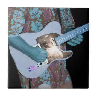 guitarrista que pinta al músico abstracto aseado a