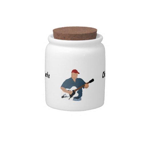 Guitarrista que pinta Sh azul semi hueco de Red Ha Plato Para Caramelo