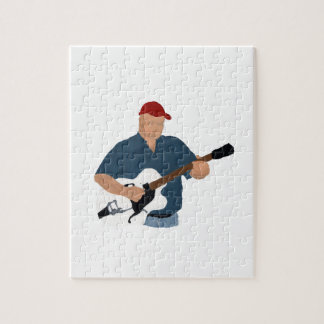 Guitarrista que pinta Sh azul semi hueco de Red Ha Puzzles