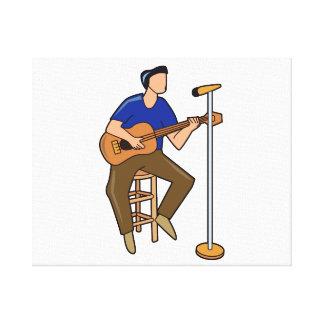 guitarrista que sienta mic abstracto blue png impresion en lona
