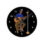 guitarrista que sienta mic abstracto drk.png reloj de pared
