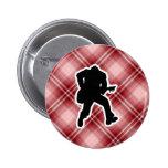 Guitarrista rojo de la tela escocesa pin