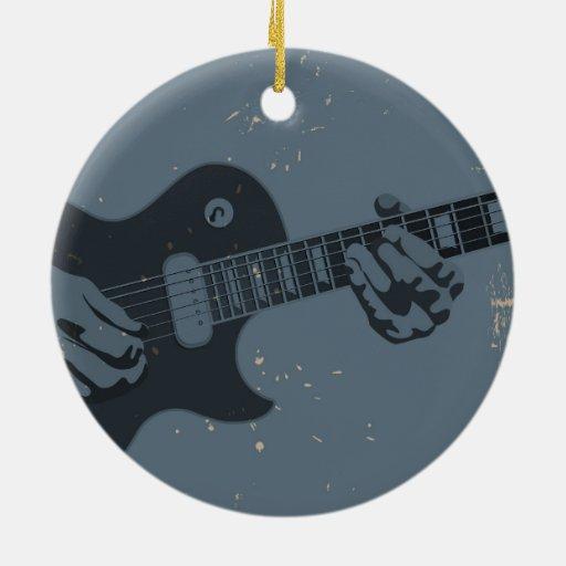 Guitarrista rústico azul y negro ornamentos de reyes