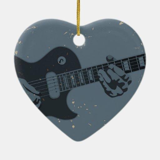 Guitarrista rústico azul y negro ornamento de reyes magos