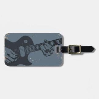 Guitarrista rústico azul y negro etiquetas maleta