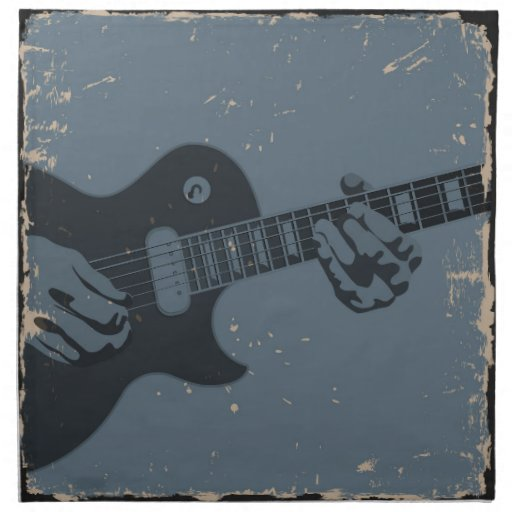 Guitarrista rústico azul y negro servilletas imprimidas