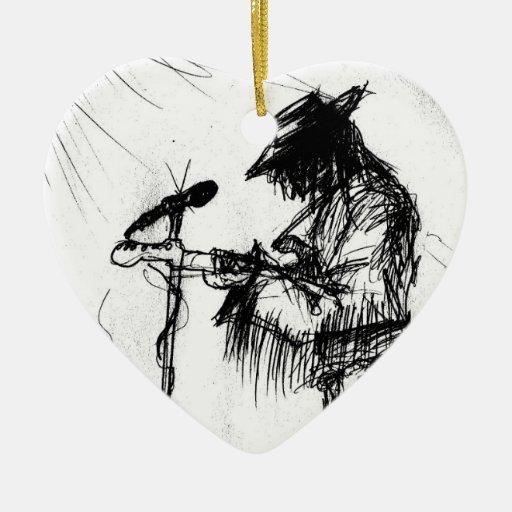 Guitarrista y banda de los azules en etapa adorno navideño de cerámica en forma de corazón