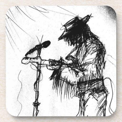 Guitarrista y banda de los azules en etapa posavasos
