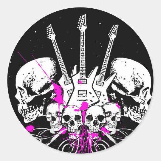 guitars and skulls classic round sticker