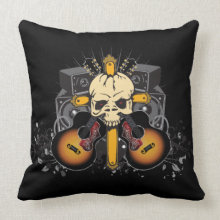 Guitars and Speakers Skull Decorative Pillow throwpillow