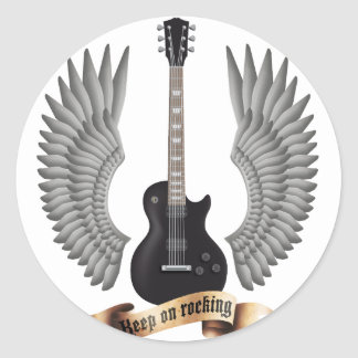 Guitars and wings black classic round sticker