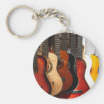 Guitars Basic Round Button Keychain