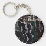 guitars basic round button keychain
