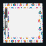 "GUITARS Customizable DRY ERASE BOARD<br><div class=""desc"">Contemporary,  colorful GUITAR DESIGN in a sixties inspired,  retro pop art style. Three string instruments of the rock,  jazz and pop persuasion for musicians,  guitarists and music lovers.</div>"
