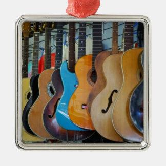 Guitars Galore Square Metal Christmas Ornament