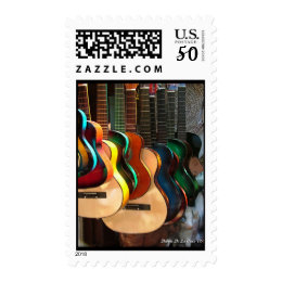 Guitars, Line and Curves Postage