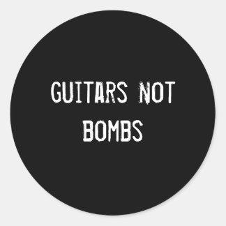 guitars not bombs round stickers