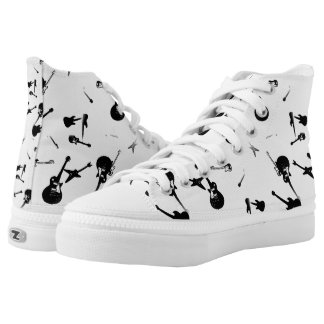 Guitars Rock Black White High Top Shoes 4 Printed Shoes