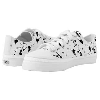 Guitars Rock Black White Low Top Shoes 4 Printed Shoes
