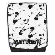 Guitars Rock Black White with Name Backpack