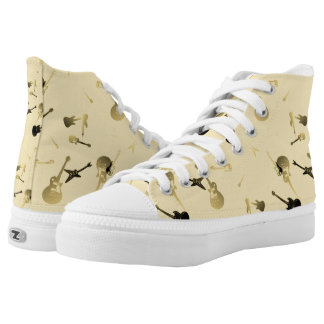 Guitars Rock Light yellow High Top Shoes 2 Printed Shoes