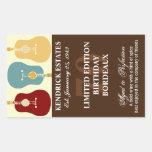 Guitars Wine Label - Brown (750ml) Rectangular Stickers