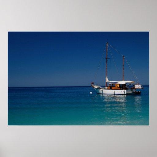 Gulet moored off town beach, Olu Deniz, Turkey Poster