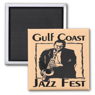 GulF Coast Jazz Fest 2 Inch Square Magnet