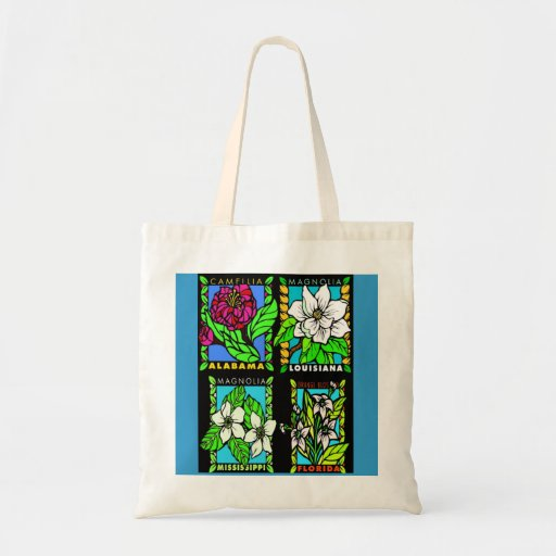 Gulf Coast State Flowers reuseable tote Tote Bags