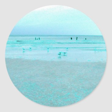 Beach Themed Gulf Coast with Colored Edges Classic Round Sticker